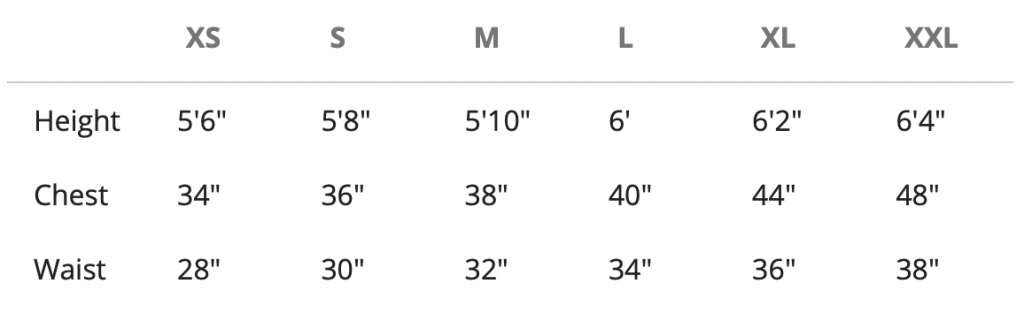sizing graph for clothing